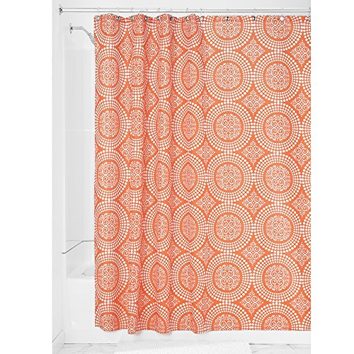 Price comparison product image iDesign Medallion Fabric Shower Curtains,  Long Shower Curtain,  Made of Polyester,  Orange