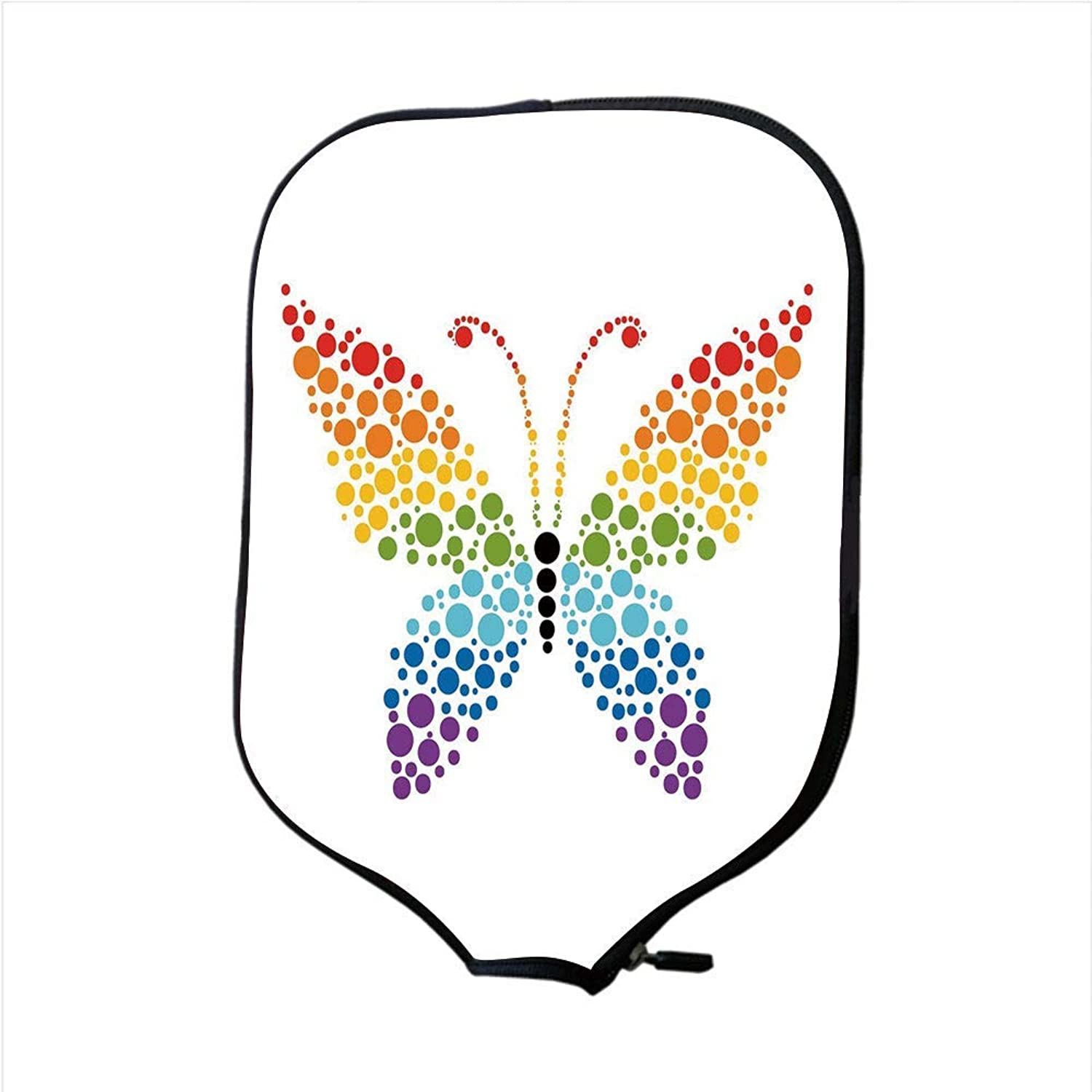 Fine Neoprene Pickleball Paddle Racket Cover Case,Rainbow,A Butterfly Made Out of Rainbow colord Dots Nature Shapes Circle Life Dot Art Decorative,Multicolor,Fit for Most Rackets