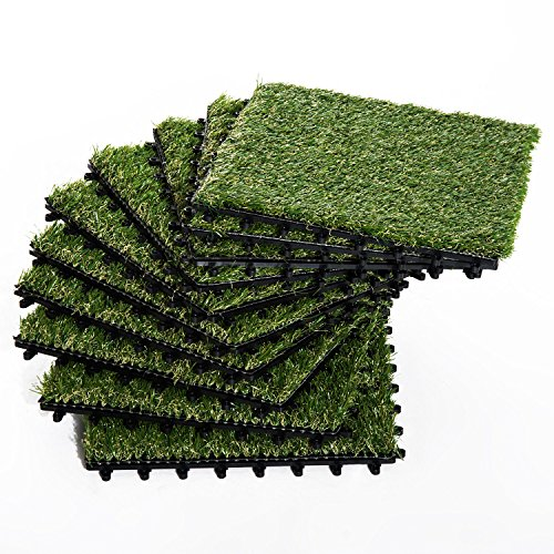Outsunny Terrassenfliesen Set Kunstrasen Grasmatte Bodenfliese 10 Stücke, 25mm, 30x30cm, Grün