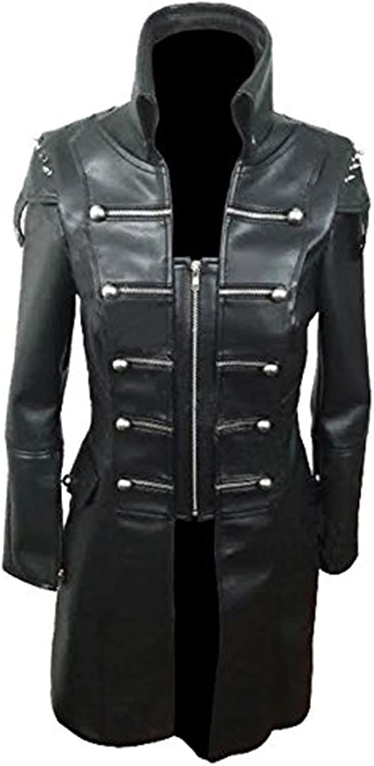 CLYDESTONES Women Black Sheep Leather Goth Matrix Trench Coat Steampunk Military Jacket