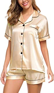 Women Satin Pajamas Set, Ladies Solid Short Sleeve Button Sleepwear Home Underwear Set