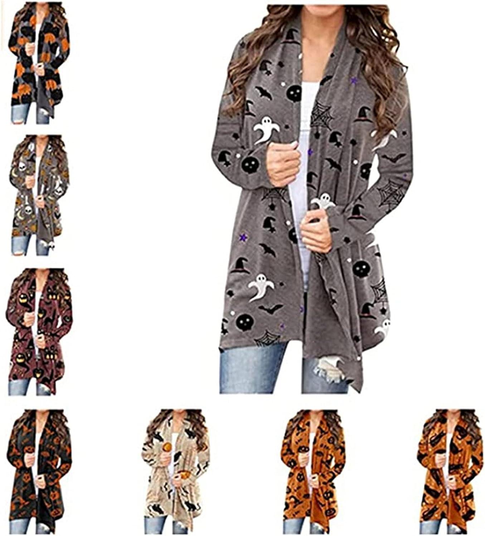 Halloween Cardigan Sweatshirts for Women,Womens Funny Ghost Pumpkin Print Open Front Hoodies Lightweight Coat