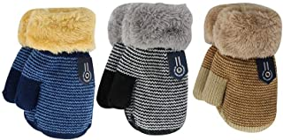 DDBO دستکش زمستانی Mitten Toddler دختران پسر پسران گرم و نازک بافتنی سرد آب و هوای برف ضخیم مخمل خواب دار با رشته