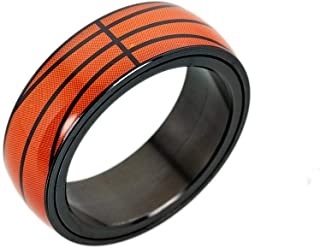 LiFashion LF Mens Womens Stainless Steel Spinner Sports Ring Socccer Basketball Football Baseball Rotary Band Rings for Mom,Dad,Son,Daughter for Commuion Athlete Inspiring Graduation Gift,Size 6-13