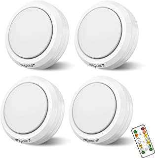 Holkpoilot Wireless LED Puck Lights with Remote Control, Dimmable Light Under Cabinet Lighting, Closet Lights Battery Oper...