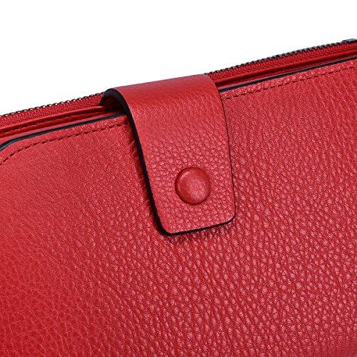 Itslife Women's RFID Blocking Large Capacity Luxury Wax Genuine Leather Cluth Wallet Card Holder Ladies Purse (Natural Red RFID BLOCKING)
