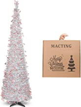 N&T NIETING Christmas Tree, 6ft Collapsible Pop Up Silver Tinsel Christmas Tree with Christmas Candy Cane Coastal Christmas Tree for Holiday Xmas Decorations, Home Display, Office Decor