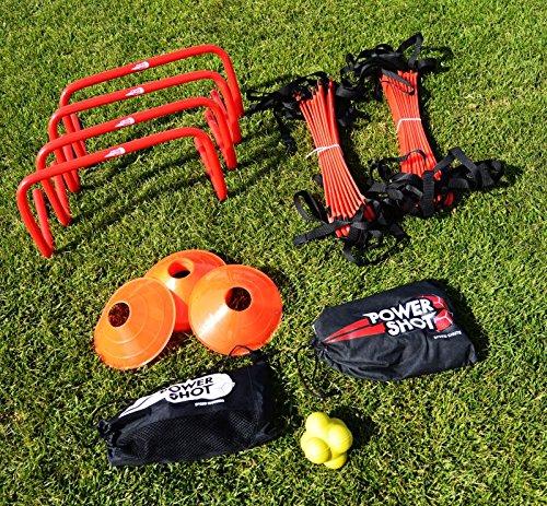 POWERSHOT® Trainingsset Schnelligkeit mit Markierungshütchen, Koordinationsleiter, Hürden... AD-504
