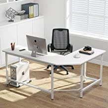 Tribesigns Modern L-Shaped Desk Corner Computer Desk PC Laptop Study Table Workstation Home Office Wood & Metal, White