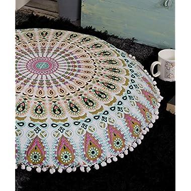 Popular Handicrafts Large Ombre Mandala Round Hippie Floor Pillow - Cushion - Pouf Cover Bohemian Yoga Decor Floor Cushion Case - 32  Multicolor