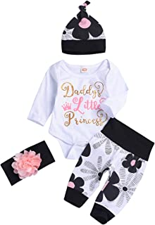 Newborn Baby Girls Outfits Daddy Little Girl Princess Romper + Flowers Pants + Hat + Flower Headband Summer Sets