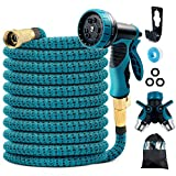 COOLWUFAN 50ft Expandable Garden Hose, 9-Function High Pressure Water Spray Nozzle with 3/4' Solid Brass Fittings/ 2-Way Pocket Flexible Splitter, Expanding Hose for Garden Lawn Car Pet Washing