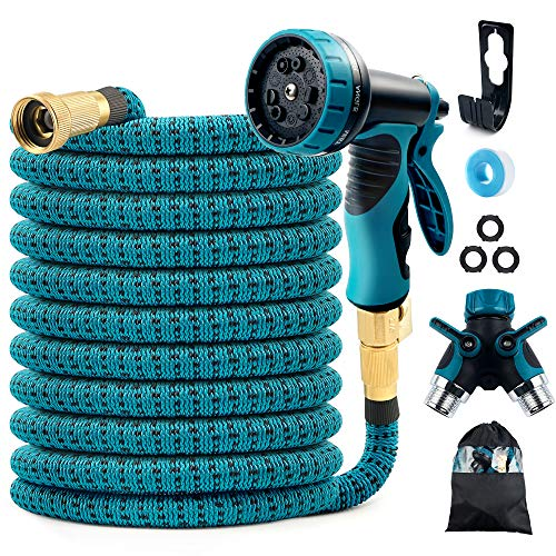 """COOLWUFAN 50ft Expandable Garden Hose, 9-Function High Pressure Water Spray Nozzle with 3/4"""" Solid Brass Fittings/ 2-Way Pocket Flexible Splitter, Expanding Hose for Garden Lawn Car Pet Washing"""