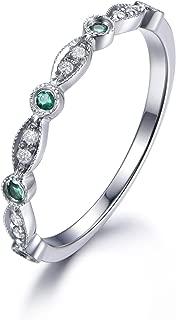 14k White Gold Natural Round Diamond Green Emerald Marquise Milgrain Wedding Band Vintage Antique Ring