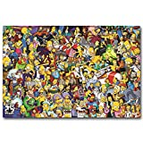 The Simpsons All Characters Cartoon,Wall Art Home Wall Decorations for Bedroom Living Room Oil Paintings Canvas Prints-1000 (Unframed,16x24inch)