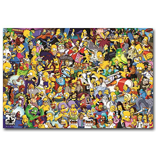 The Simpsons All Characters Cartoon,Wall Art Home Wall Decorations for Bedroom Living Room Oil Paintings FINDEMO Canvas Prints-1000 (Unframed,16x24inch)