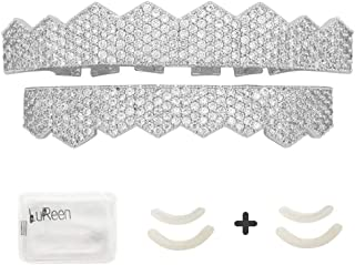 Pave Full CZ Grillz Gold Silver 8 Teeth Top and Bottom Grillz + Extra 2 Molding Bars