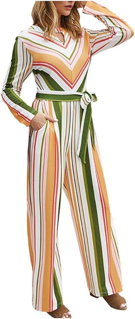 Damen Floral Backless Overall Strappy Sleeveless Split V-Ausschnitt Casual G/ürtel Overall Sommer Lange Hosen Strampler
