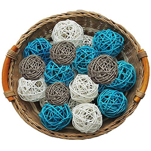 Lot de 15 Boules de Décoration en Osier Naturel - Blanc Gris Bleu