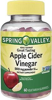 Spring Valley Apple Cider Vinegar 500 mg Powder, Great Apple Flavor, 60 Gummies