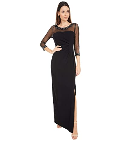 Tahari by ASL Illusion Column Gown with Side Ruched Detail (Black) Women