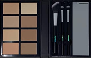 Profusion Cosmetics - Contour - Professional 8 Color Palette - Face Powder Highlighter Bronzer Makeup Kit Brushes Included - Champagne Highlight Nutmeg Ivory Peach Pale Gala Moonstone Java Ebony