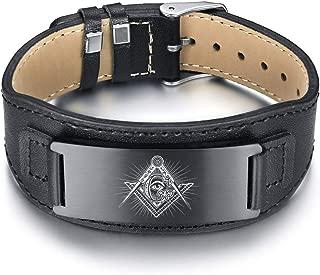 Jewish Hexagram Magen David Pentacle Pentagram Tetragrammaton Life Health Talisman Amulet Symbol Leather Bracelet for Men