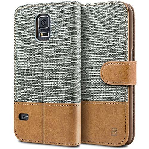 BEZ Hülle für Samsung Galaxy S5 Handyhülle, Handytasche Schutzhülle Kompatibel für Samsung Galaxy S5 / S5 Neo Hülle, Tasche [Stoff und PU Leder] mit Kreditkartenhaltern - Grau