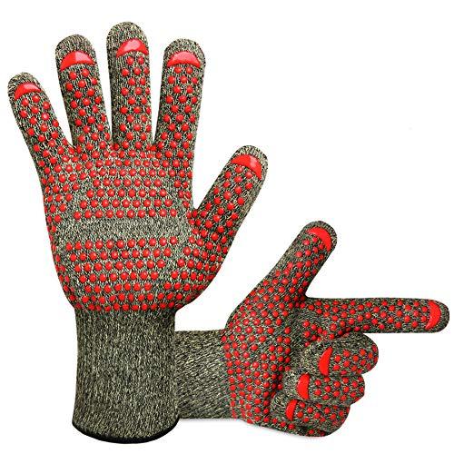 KONVINIT Grillhandschuhe Hitzebeständige Ofenhandschuhe Anti-Rutsch 932 °F BBQ Handschuhe, Handschuhe für Grill Kochen, Backen oder kaminhandschuhe, 1 Paar