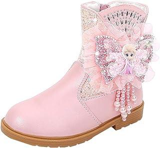 LOBTY chaussures pour enfants filles cadeaux bottes de princesse strass bottes d'hiver bottes de neige doublées chaudes bo...