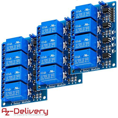 AZDelivery 3 x Modulo 4 Relé 4 Channel Relay 5V con Optoaccoppiatore per Arduino con eBook
