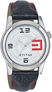TITaN Gents's White Dial Color Leather Strap Watch - 1588SL01