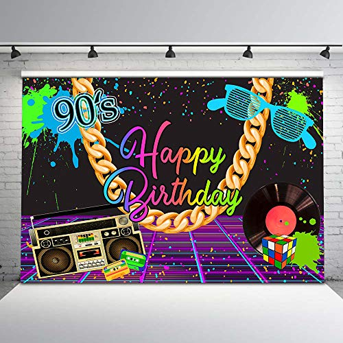 Avezano Hip Pop 90s Backdrop Happy Birthday Backdrop Happy Birthday Party Graffiti Wall Disco Party Background 7x5ft Vinyl Throwback to 90s Party Decorations Backdrops