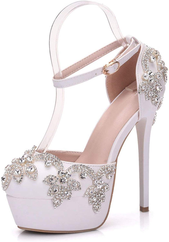 Fuxitoggo Fuxitoggo Fuxitoggo Damen Platform Stiletto Applique Satin Braut Hochzeit Formale Partei Pumps Schuhe (Farbe   Ankle Strap Ivory-14cm Heel, Größe   4 UK)  695440