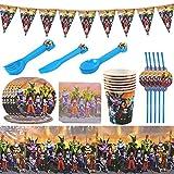 JPYH 82PCS Dragon Ball Vajilla Fiesta Decoración Conjunto de Suministros Mantel Platos Servilletas Pancartas Tazas Utensilios para Niños Cumpleaños Niñas