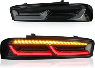 MICROPOWER LED Tail Lights Assembly for Chevy Camaro 2016 2017 2018, Rear Tail Lamps with Sequential Turn Signal Light and Full DRL Bars, Driver and Passenger Side (smoked)