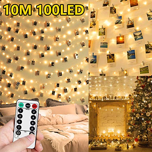 Lucine Led Decorative per Camere - 10M 100LED Luci Led a Batteria per Foto Polaroid Porta Foto Luci con Mollette Led per Foto Luci Decorative Interno