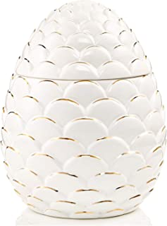 Jay Imports Merry and Bright Pine Cone Christmas Holiday Cookie Jar Off White
