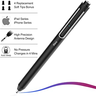 Stylus Pen for Apple iPad, XIRON Active Capacitive Rechargeable iPad Pencil Stylus Digital Pen iPens with 4pcs 2mm Replaceable Fine Point Rubber Tips for Apple iPad/iPad Pro/iPhone (iPens X1)