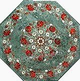 Vintage Crafts Dessus de table basse en marbre vert 61 cm