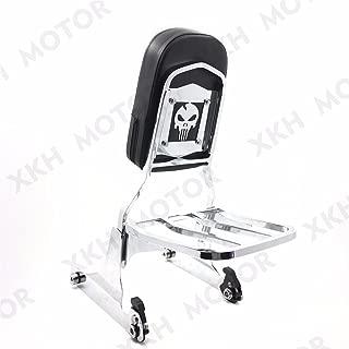 XKH Group Skull Chrome Detachable Sissy Bar Backrest & Luggage Rack for Harley Softail FLH / FATBOY Softail FLSTN