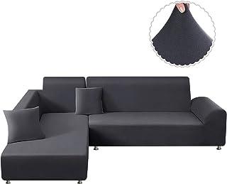 TAOCOCO Funda para sofá en Forma de L Funda elástica elástica 2 Juegos para 3 Asientos 3 Asientos, con Funda de cojín de 2 Piezas (Gris Claro)