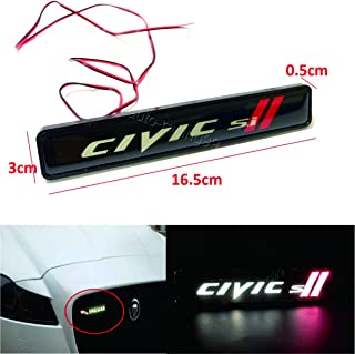 Tuning_Store 1Pcs Civic Si LED Light Car Front Grille Emblem Badge Illuminated Bumper Sticker Quality Accessories for Car Tuning
