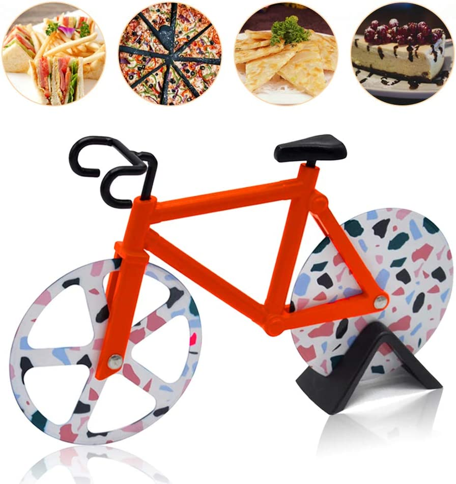 para Utensilios de Cocina N//F Besylo Pizza con Forma de Bicicleta Cortador de Pizza y Masa Ruedas de Corte de Acero Inoxidable Cortador de Pizza con Forma de Bicicleta con Soporte