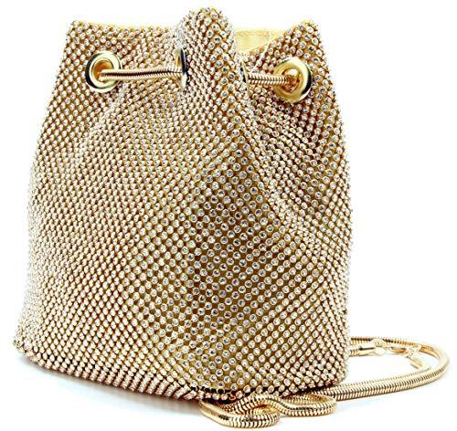 Crystal Evening Bag Rhinestone Clutch Bucket Shoulder Bag Glitter Crossbody Purse for Women Silver