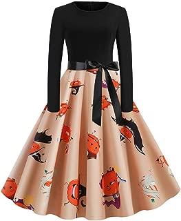 Women Long Sleeve Hollow Halloween Bat Print Flare Dress Party Casual Dresses
