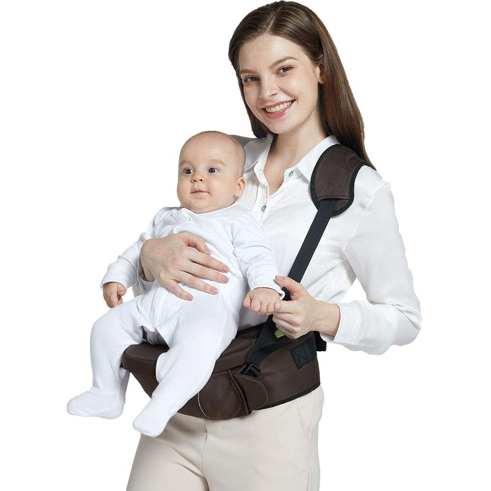 Baby Carrier with Hip Seat Safety Waist Carrier with Adjustable Buckle Pocket and Adjustable Straps Soft Baby Carrier Brown
