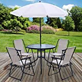 Marko Outdoor 6PC <span class='highlight'>Garden</span> <span class='highlight'>Patio</span> <span class='highlight'>Furniture</span> <span class='highlight'>Set</span> Outdoor Cream 4 Seat Round Table Chairs & Parasol