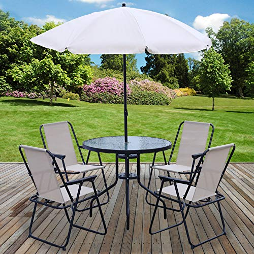Marko Outdoor 6PC Garden Patio Furniture Set Outdoor Cream 4 Seat Round Table Chairs & Parasol