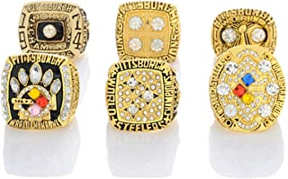 Gloral HIF 6Pcs Set Pittsburgh Steelers Super Bowl Championship Replica Ring for Fans Without Box